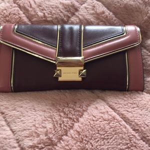 Burgundy/pink/gold Michael Kors Wallet